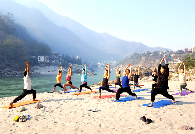 Beach Yoga in Rishikesh